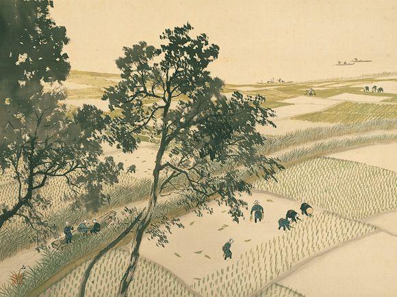 川合玉堂 《田植図》 1945-54(昭和20年代) 絹本着色 54.4×72.5cm はるか水際まで連綿と続く田圃と、田植えに精を出す早乙女たちの姿。ありふれた日本の風景を暖かな眼差しで捉え、軽やかな筆と澄明な色彩で描き出した。玉堂らしい爽やかな一幅。平野を斜めに横切る水路が、画面に広がりと動きを与える。