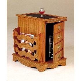 Southwestern Style Magazine Cabinet Side Table Rack with Storage in Oak Finish Wood furniture
