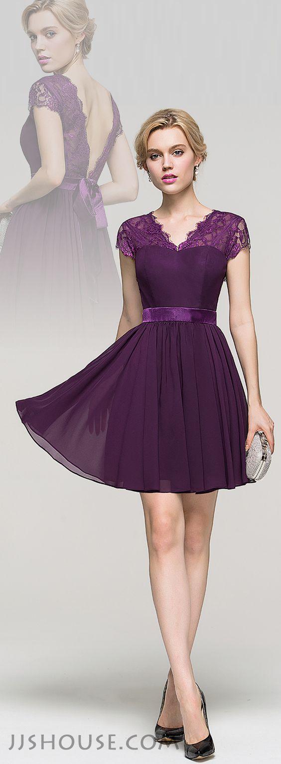 A-Line/Princess V-neck Short/Mini Chiffon Homecoming Dress With Bow. #JJsHouse