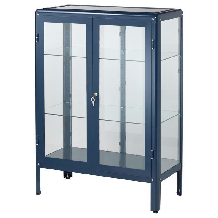FABRIKÖR Glass-door cabinet Blue 81x113 cm - IKEA