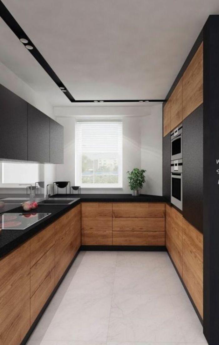 Cuisine Noir Sol Blanc Au Plafond Blanc Avec Des Bandes Décoratives En Noir  Avec Des Luminaires