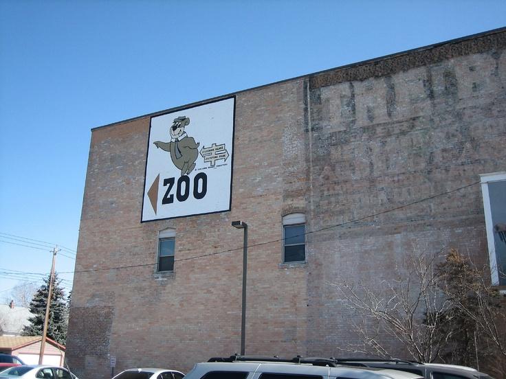 Calgary Zoo wall sign in Inglewood area of Calgary