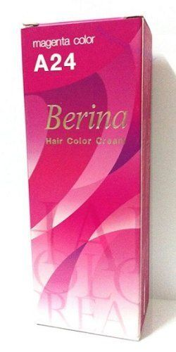 Berina Permanent Hair Dye Color Cream # A24 Magenta. by Berina. $14.60. Product Size : 60 gm.. Color : Black. Condition : Brand new & Never used. Berina Hair Color cream containing an innovative component which protects and provides glamours colour to hair as desired. Berina Hair Colour Cream contains active and powerful radiants which confers the product in a permanent color and silky hair, In order to make your hair more smooth and silky, use Berina Protein Conditioner after co...