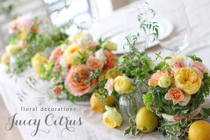 会場装花,夏,レモン,オレンジ,バラ