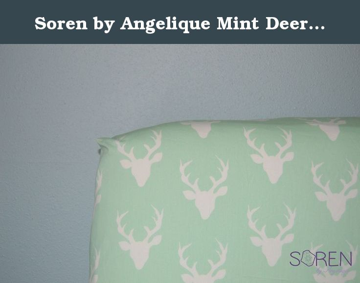"Soren by Angelique Mint Deer Head Crib Sheet. Soren by Angelique Mint Deer Head Crib Sheet. Fitted Crib Sheet, standard size with elastic all the way around. Fits best on 5"" tall crib mattress. Features slightly off-white deer head silhouettes on a mint background. Made from high quality, soft cotton fabric."