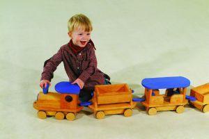 Juego de #tren gigante con 3 vagones con ruedas de goma antiruido y ralladuras. #Juegos #Juguetes #Trendejuguete http://www.multididacticos.com