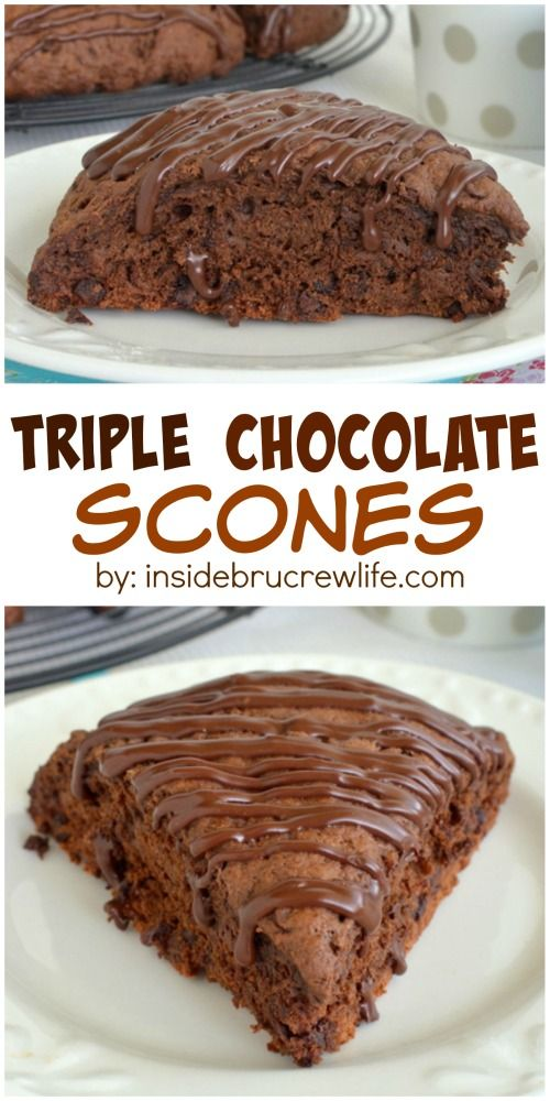 Triple the chocolate makes these scones the perfect way to start out the morning!
