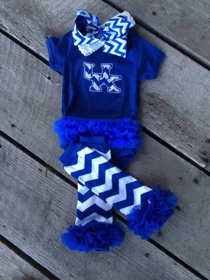 University of Kentucky onesie, UK baby Chevron onesie with Royal Blue and white chevron bow and headband plus matching chevron leg warmers by CloverDepot on Etsy