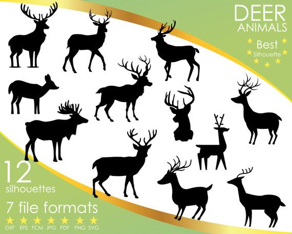 Hey, I found this really awesome Etsy listing at https://www.etsy.com/listing/501376702/12-silhouettes-deer-forest-animal