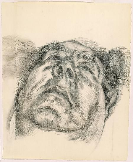 """Lucian Freud, """"Arnold Abraham Goodman, Baron Goodman"""" 1985 Charcoal on paper 13 x 10 1/2 inches (33 x 26.7 cm) National Portrait Gallery, London © The Lucian Freud Archive Photo © Lucian Freud Archive"""