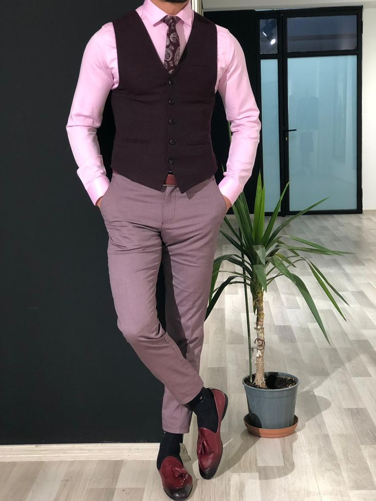 Buy claret red slim fit vest by with free