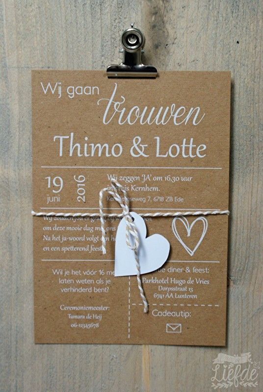 Kraft trouwkaart met hartje - Thimo & Lotte. Kraft wedding invitation