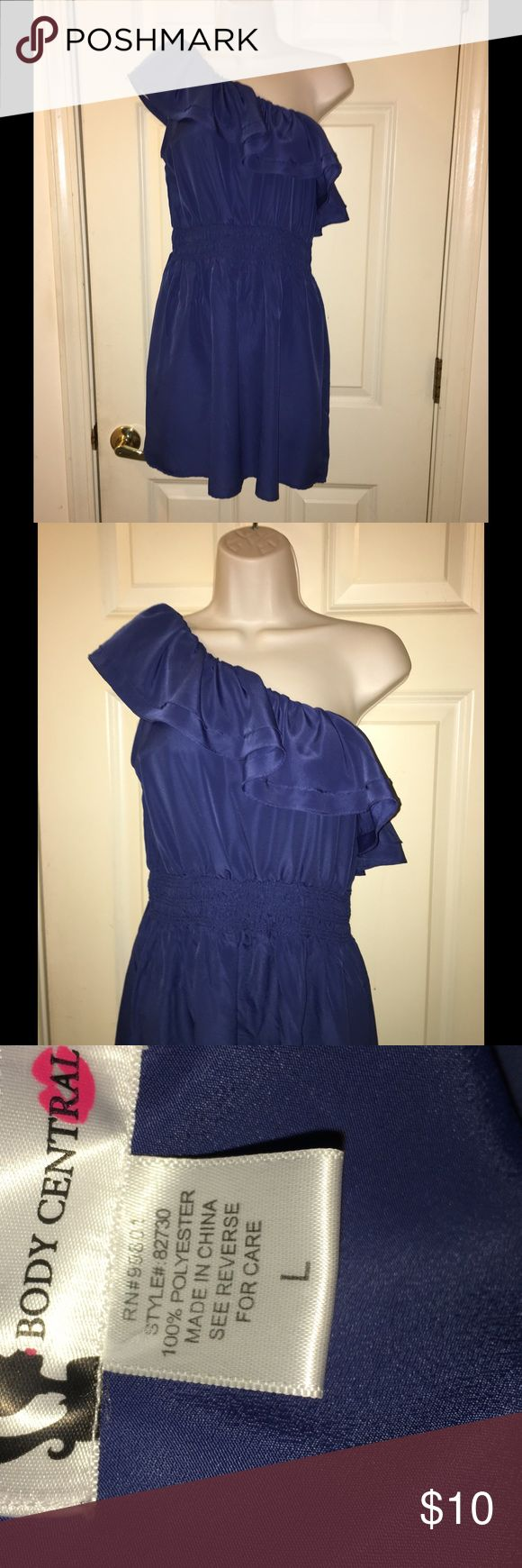 One Shoulder Ruffle Dress By Body Central Large Blue dress with a single shoulder ruffle.  Elastic waist.  Mid thigh length.  Size large.  From Body Central.  Great condition.  Important:   All items are freshly laundered as applicable prior to shipping (new items and shoes excluded).  Not all my items are from pet/smoke free homes.  Price is reduced to reflect this!   Thank you for looking! Body Central Dresses Mini