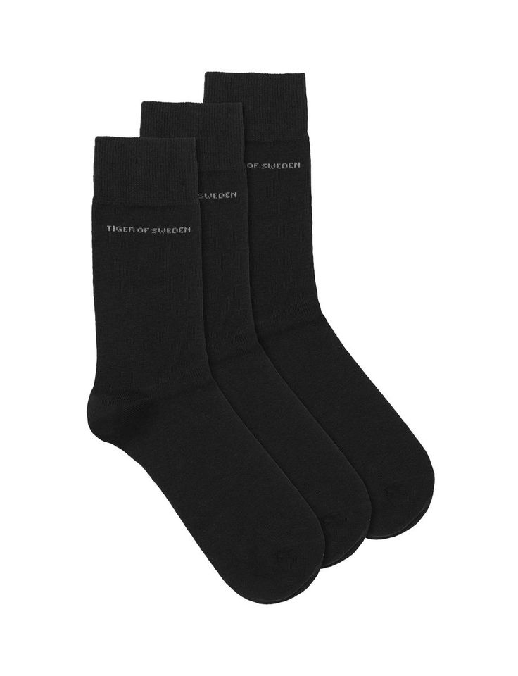 Abramio socks-Men's socks in soft cotton blend. 3-pack in selection of classic solid colours.