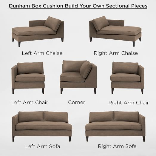 Left Loveseat + Right Loveseat + Corner. Build Your Own   Dunham Boxed  Cushion Sectional Pieces