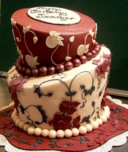 Birthday Cake Designs For Female Adults : Two tier elegant birthday cake for women with beads.JPG ...