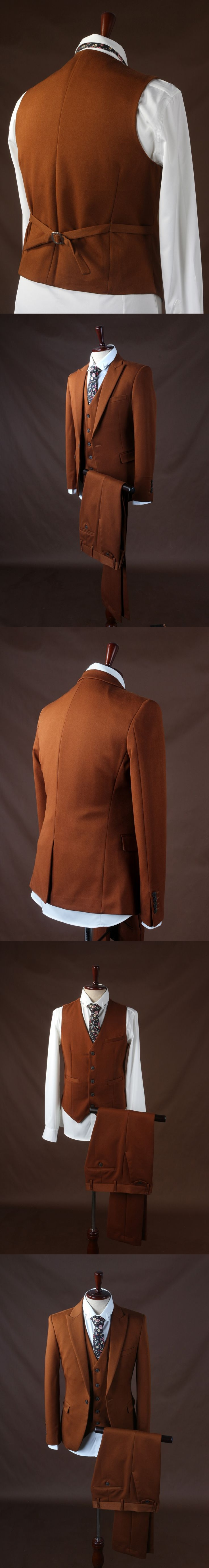 2017 Latest Coat Pant Designs Dark Brown Wedding Suits For Men Groom Slim Fit 3 Piece Tuxedo Custom Prom Blazer Terno Masuclino