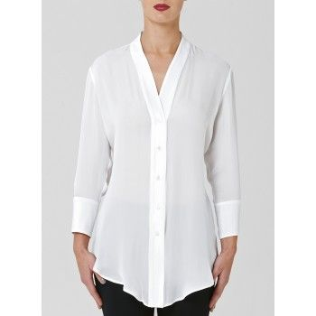Mela Purdie Streamlined Shirt - Georgette & Crepe Every wardrobe needs the perfect silk shirt. Cut to trim and elongate the silhouette this streamlined shirt is the perfect summer floaty shirt that will transform your look from day to night. #melapurdie  #redworks