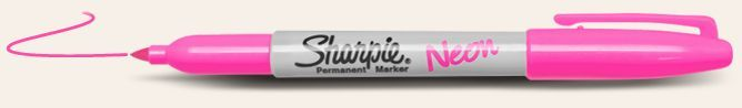 NEW Sharpie Fine PointNeonmarkers. Ultra vivid color in natural light with marks thatturnfluorescent in black light. Start Bright. Go Electric.<br/>