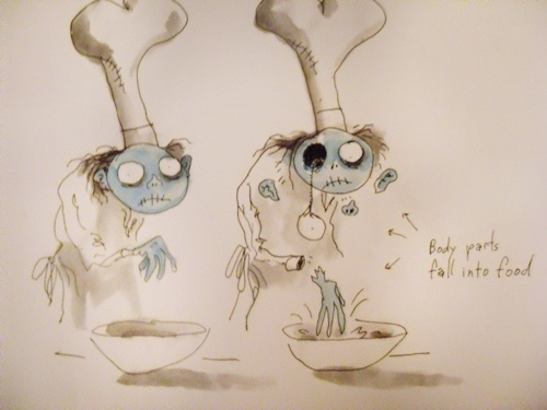"""It's the chef from Corpse Bride! This drawing makes me think of the scene where Victoria's dad says, """"There's an eye in me soup."""" Then everyone screams and goes crazy."""
