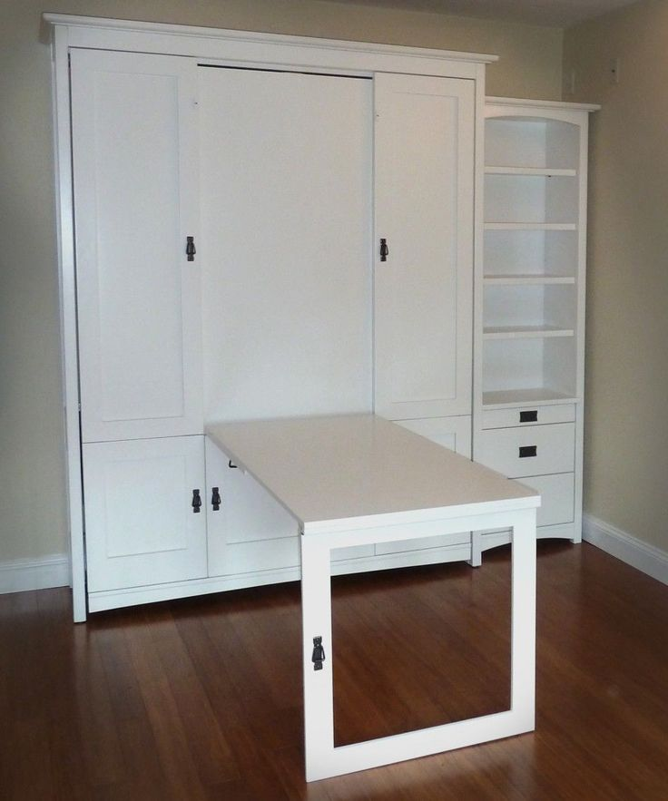 Sonoma Woodcraft   White Contemporary Wall Bed (Murphy Bed) With Hidden Fold  Down Table.