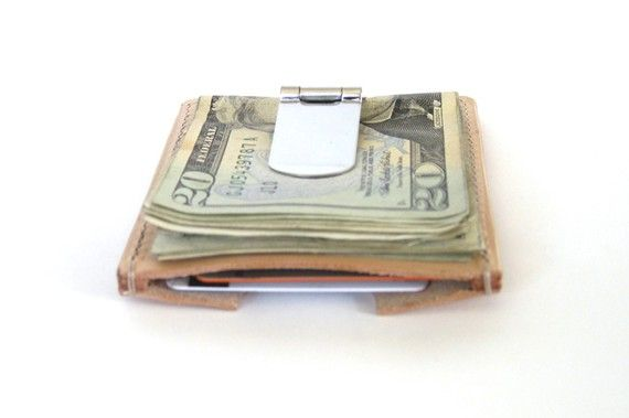 Fancy - Natural Leather Money Clip Wallet with Card Holder by TAGSMITH