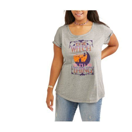 Plus Size Rocker Girl Junior's Plus Burnout Scoop Neck Halloween Tee, Size: 2XL, Gray
