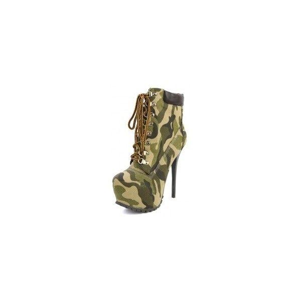 Makemechic ❤ liked on Polyvore featuring shoes, boots, heels, hidden platform boots, high heel platform shoes, camo boots, platform heel boots and high heel boots