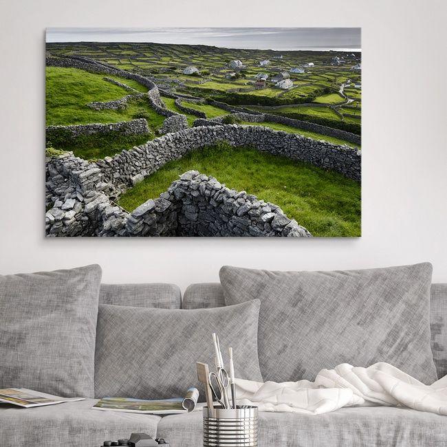 Photograph Of Ireland Landscape Wall Decor Wall Art A Pastoral Landscapae With Stone Fenses And Cottages A Landscape Canvas Landscape Art Irish Landscape