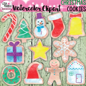 The holidays are just around the corner! One of my favorite parts of celebrating is the food, more specifically the cookies! This is the perfect way to introduce my new watercolor texture clipart! This vibrant, watercolor textured set of Christmas cookies will give your