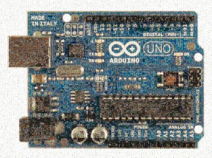 Arduino UNO board mosaic image, composed by pictures from YouSpice, the SPICE simulation community