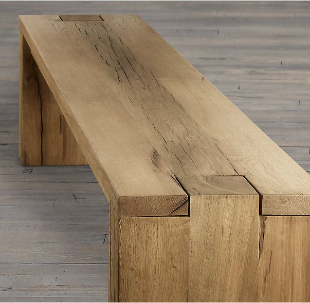 RH's Parsons Reclaimed Russian Oak Bench:Handcrafted of solid reclaimed white oak timbers from decades-old buildings in Russia, our parsons-style bench is simple and functional in design. A salute to clean and contemporary style, the bench celebrates the beauty of unadorned Russian salvaged oak. Free of ornamentation, the straight panel legs fit smoothly into the notched bench corners.