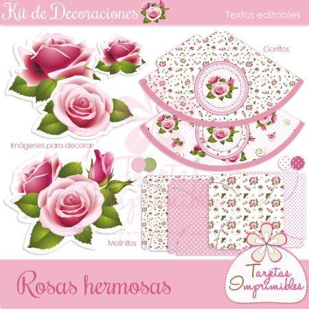 Kit de decoraciones imprimibles Shabby chic rosa, banderines, etiquetas…
