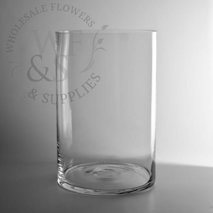"12"" x 8"" Glass Cylinder Vase - WholesaleFlowersAndSupplies.com"