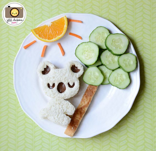koala sandwich with cucumber tree