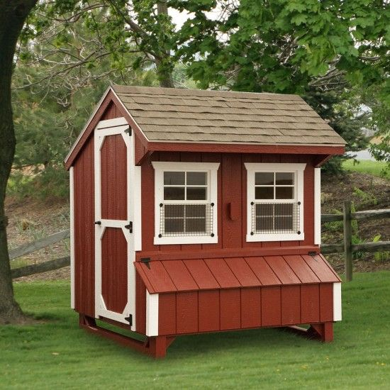 Amish red quaker chicken coop 5 x 6 for Red chicken coop