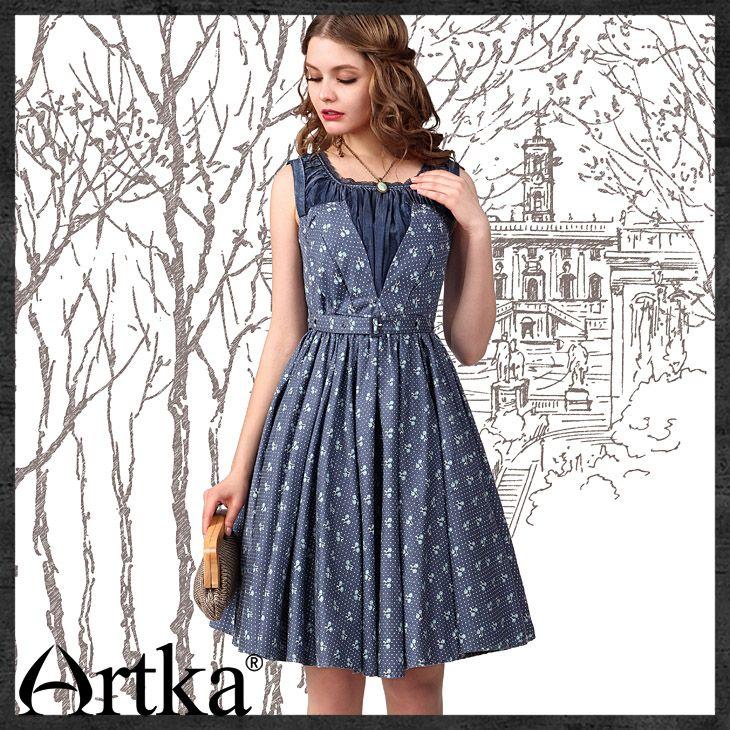 Платья : Летнее платье-кокетка с вырезом, отделанным рюшами, и юбкой-солнце