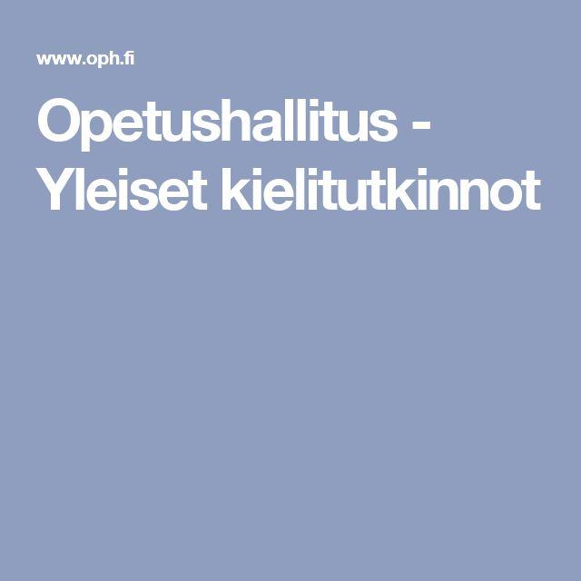Opetushallitus - Yleiset kielitutkinnot