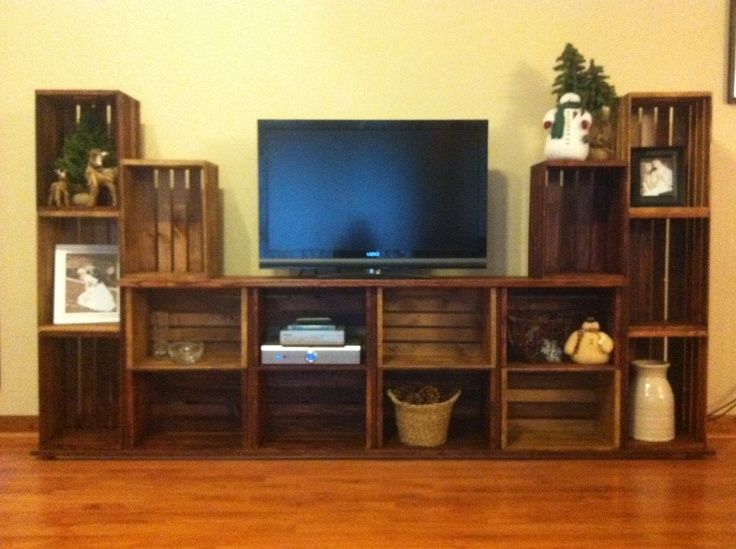 diy entertainment center out of crates | Entertainment stand made from crates.