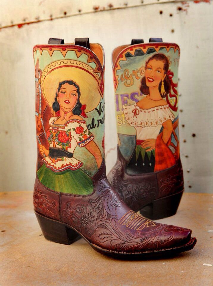 mexican art cowgirl boots - Rocketbusters