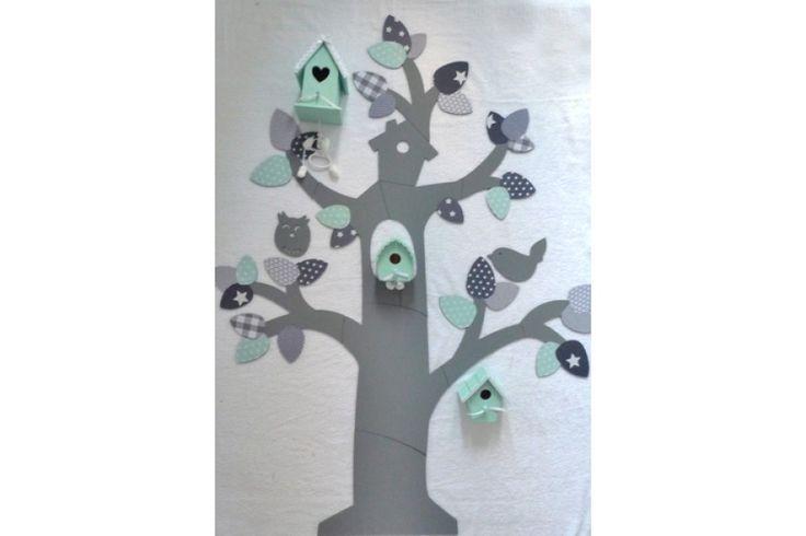 Muurboom Vogeltjes Grijs Mint Stoffen Blaadjes (met Vogelhuisjes)