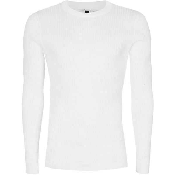 TOPMAN White Ribbed Muscle Fit Jumper ($31) ❤ liked on Polyvore featuring men's fashion, men's clothing, men's sweaters, white, mens crew neck sweaters, mens white sweater, mens ribbed sweater and mens crewneck sweaters