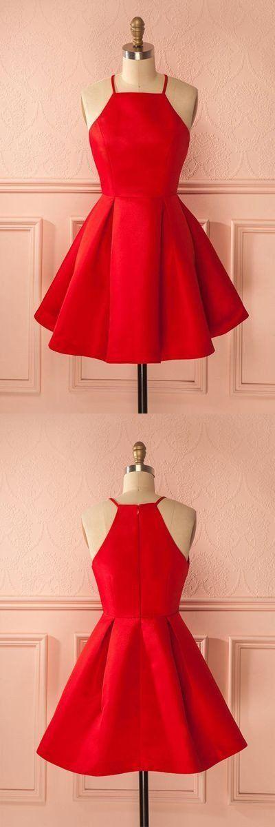 red satin cheap A-line charming short homecoming dress, BD4845