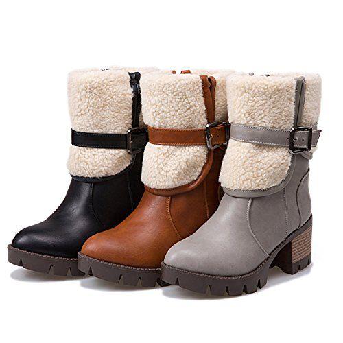 OALEEN Bottines Chelsea Fourrées Talon Epais Plateau Hiver Neige Bottes Boots Cheville Femme