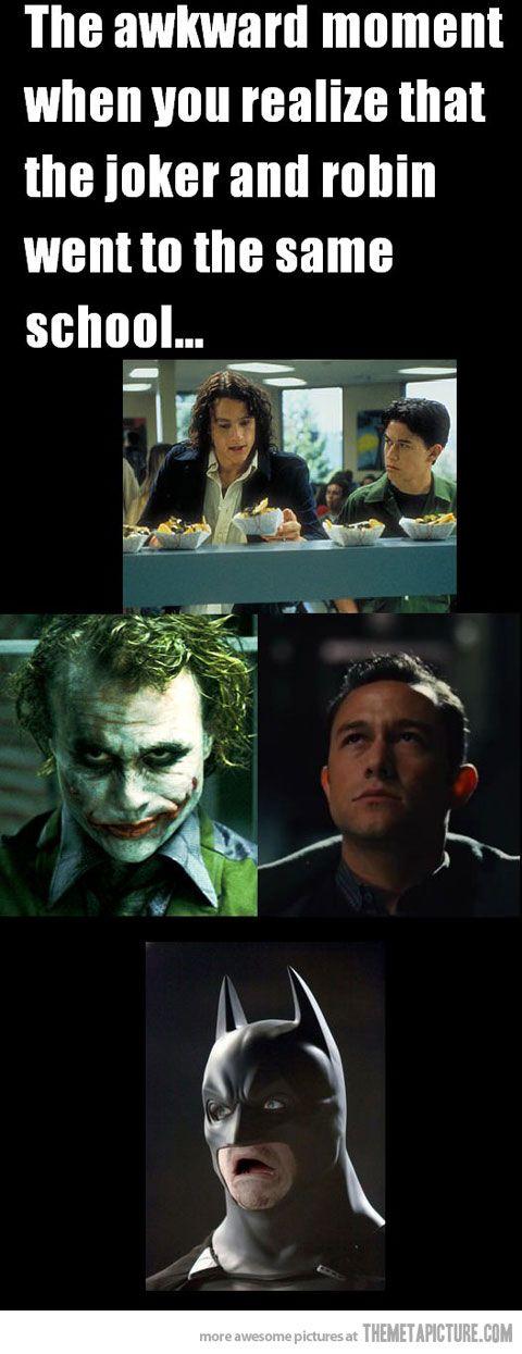 hahaha!Robin, Awkward Moments, Batman Face, The Jokers, The Face, Funny, 10 Things, Dark Knight, Heath Ledger