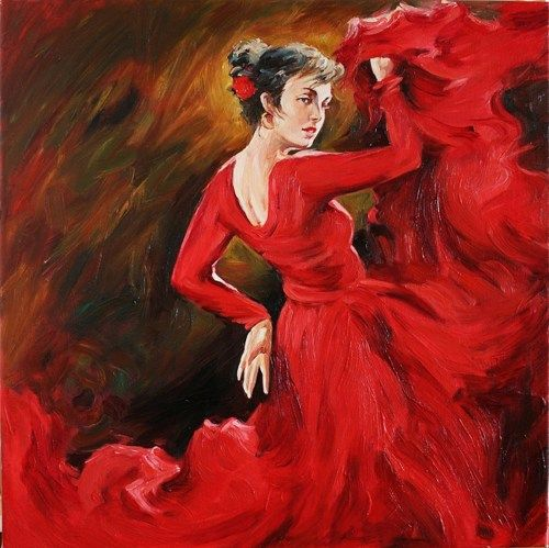 Spanish Flamenco Dancer in Red Dress Oil Painting on Canvas