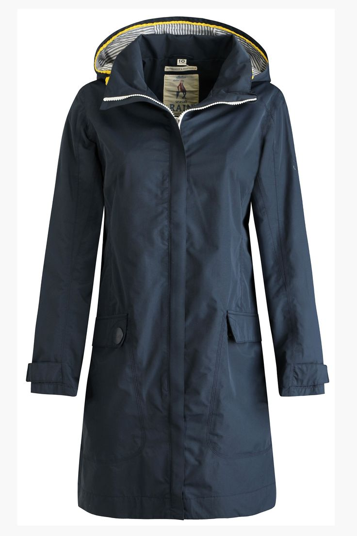 Flattering, practical Seasalt raincoat for women. Lightweight and knee length. Waterproof, windproof and breathable. A best seller for seasons.