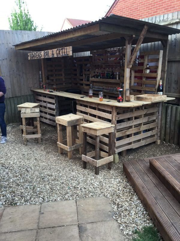 Making the Ultimate Garden Bar Using Pallets DIY Pallet Bars Pallet Terraces & Pallet Patios