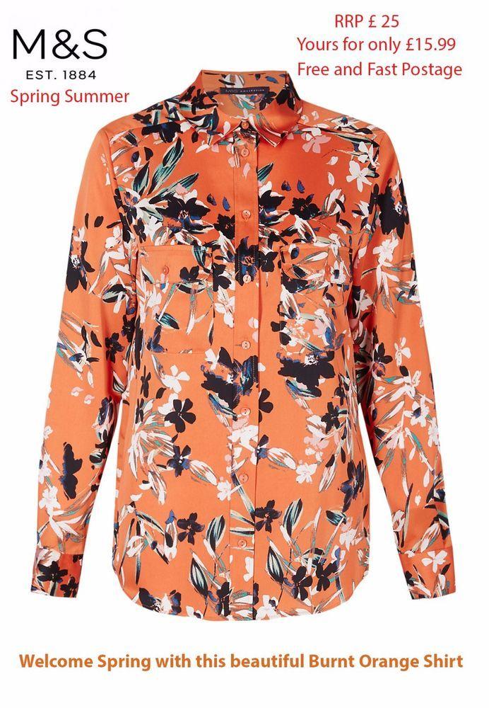 0feefbd6a1e497 M S women ladies Marks Spencer Burnt Orange Floral Print Long Sleeve Shirt  10-20  MarksandSpencer  Shirt  Casual