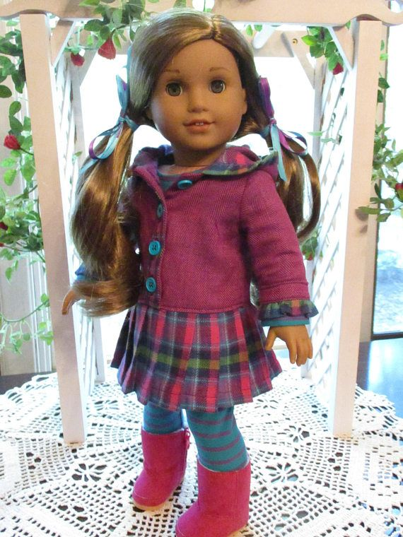 For the girl who loves bright purples, blues, and pinks, this outfit will bring smiles! This 3 pieces ensemble combined a warm & snuggly, hooded flannel shirt dress with a cotton knit long-sleeve t-shirt and matching leggings that offer mix and match possibilities. Includes: * Cotton